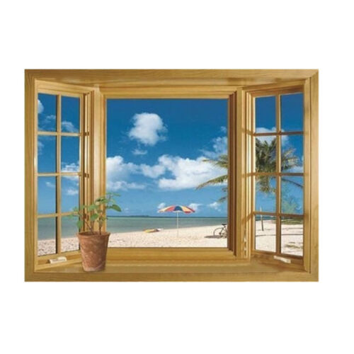1 of 4FREE Shipping Beach Window View Scenery 3D Wall Stickers /Decals Vinyl Art Mural Room Decor UK  sc 1 st  PicClick UK & BEACH WINDOW VIEW Scenery 3D Wall Stickers /Decals Vinyl Art Mural ...