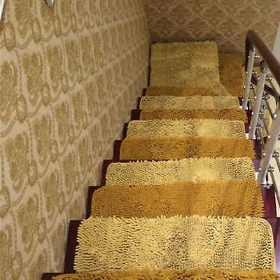6 Of 10 Fluffy Stair Treads Carpet Rug Non Slip Stair Mat Matt Step Indoor  Washable New