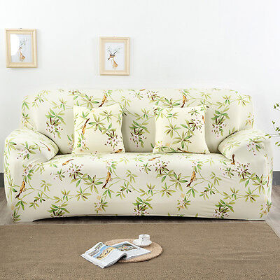 6 Of 12 Pure Color Flower Pattern Stretch Elastic Sofa Slip Cover Protector  1 2 3 Seater