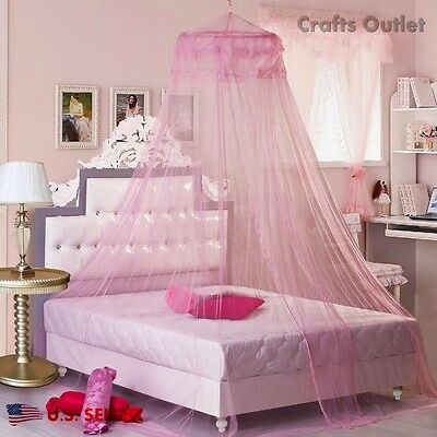4 of 10 Lace Bed Mosquito Netting Mesh Canopy Princess Round Dome Bedding Net MultiColor : mesh canopy - memphite.com
