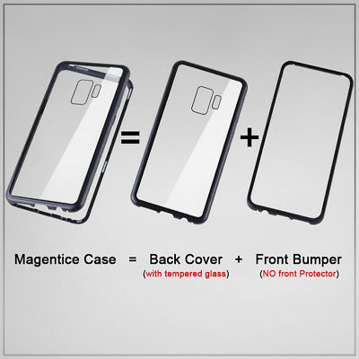 Magnetic Tempered Glass Case Cover Samsung Galaxy S8 S9 S10 Plus S10E Note 8 9 10