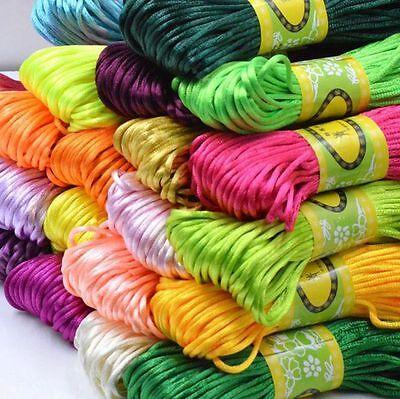 3mm Chinese Knot Satin Nylon Braided Cord Macrame Beading Rattail Thread Cords 3