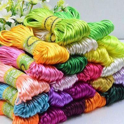 3mm Chinese Knot Satin Nylon Braided Cord Macrame Beading Rattail Thread Cords 2