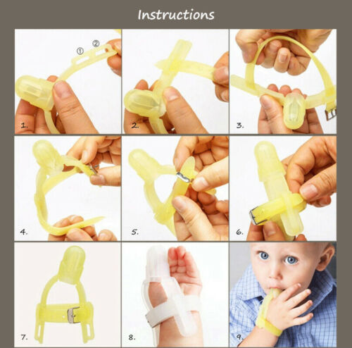 Non-toxic Silicone Stop Thumb Sucking Baby Wrist Band Thumb Guard Kids UK Stock