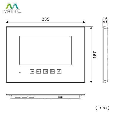 """2 Draht Video Türsprechanlage mit 2 x 7"""" Monitor (Spiegel)"""