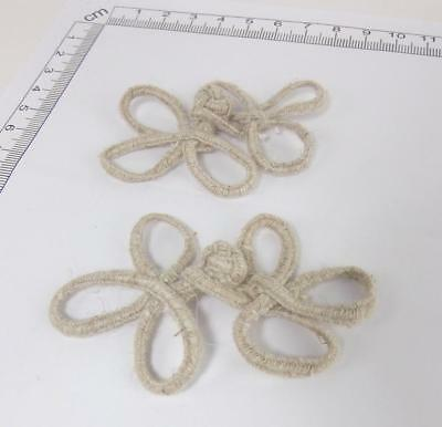 Frogs Button Closures- Natural Color Fibres - 3 loop Frogs- 2 Pair/pk - #FG17 3