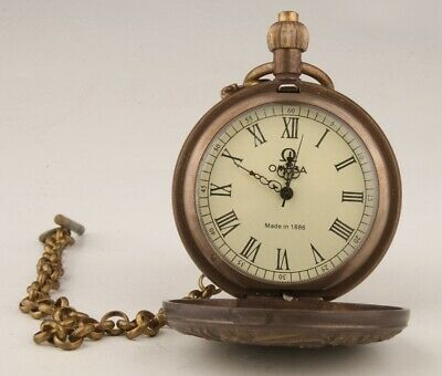 Hand-Carved China Copper Glass Pocket Watch Pendant High-End Collection 4