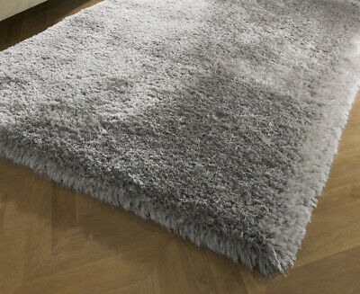 Small - Large Soft Chunky Thick Long 8Cm Shaggy Light Silver Grey Pearl Rug 2
