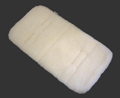 PRAM SEAT LINER GOOSEBERRY Natural Lambs Wool Universal Machine Washable Black 3