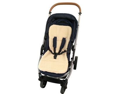 PRAM SEAT LINER GOOSEBERRY Natural Lambs Wool Universal Blue Jeans 2
