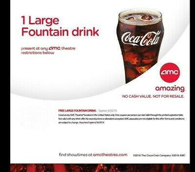 AMC Theaters - 1 Large Popcorn + 1 Large Drink - Expires 6/30/20 *FAST DELIVERY* 2