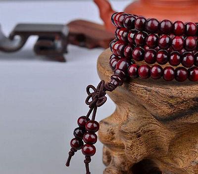 Sandalo Buddista Meditazione 6mm 108Preghier Perlina Mala Bracciale/Collana *SP 4