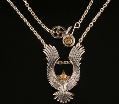 Rare China 925 Silver Hand-Carved Eagle Necklace High-End Gift Collection 2