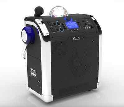 250W Portable Active PA System Karaoke Bluetooth Radio USB MP3 SD Party light