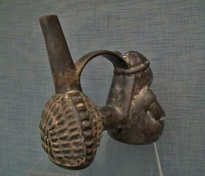 Antique Pre Columbian Chimu Inca Blackware Figural Whistling Vessel Whistle 5