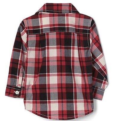 Baby Gap Boy Plaid Shirt Top Red Black White Gray Cotton Size 12-18 Months NWT