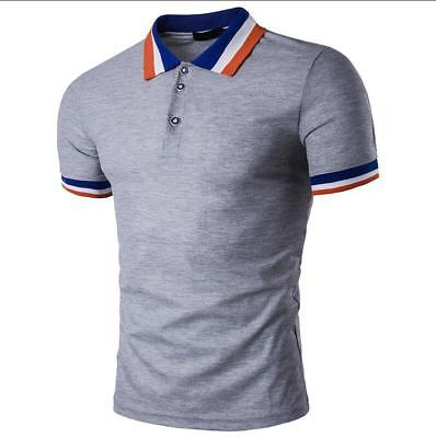 New Men's Slim Fit POLO Shirts Solid Short Sleeve Casual Golf T-shirt Tee Tops 4