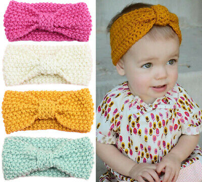 Knitted Baby Toddler Girls Kids Bow Knot Turban Headband HairBand Headwrap 0-3yr 3