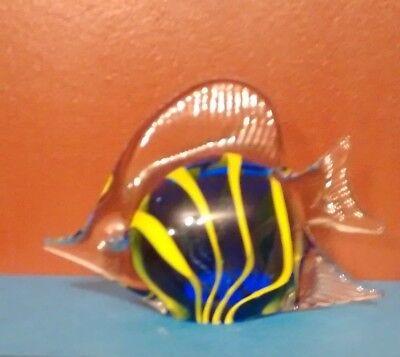 Hand Blown Art Glass Tropical Fish Paperweight Figurine, Blue w/Yellow Stripes 4
