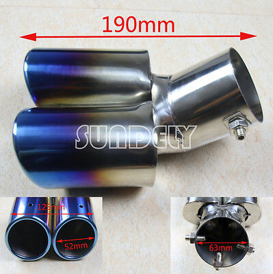 CURVE TWIN DUAL EXHAUST TRIM DOUBLE TIPS MUFFLER PIPE TAIL 63MM x 190MM RAINBOW
