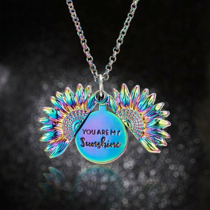 Sunflower You are my sunshine Open Locket Colorful Pendant Chain Necklace Gift 3