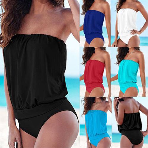 Damen Schulterfrei Bikini Einteiliger Bademode Badeanzug Monokini Strandkleidung