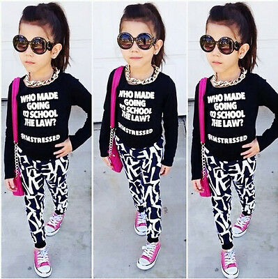 2766af6c6aff ... US Stock Fashion Toddler Kids Girls Clothes Set Tops Pants Leggings  Outfits 2