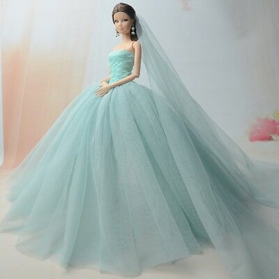 """Doll Dresses Clothes Wedding Dress For 11.5"""" Dol lLong Tail Evening Gown  +Veil 2"""