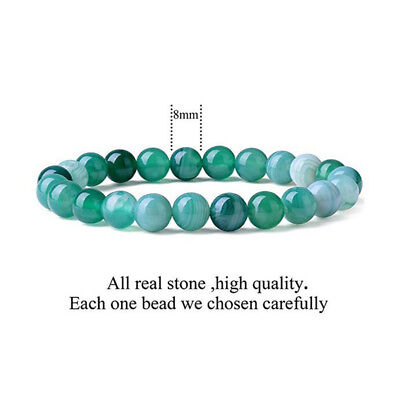 Natural Green Band Agate Repair Crystal Stretch Beaded Bracelet Unisex 2