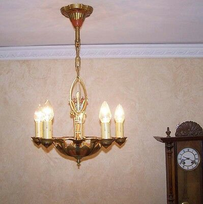975 Vintage 20s 30s Ceiling Light  aRT Nouveau Polychrome Chandelier antique 7