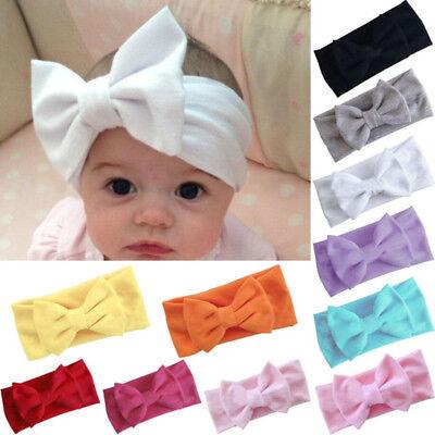 Toddler Girls Kids Baby Big Bow Hairband Headband Stretch Turban Knot Head Wrap 3
