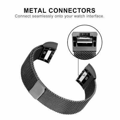 For Fitbit Charge 2 Band  Stainless Steel Metal Milanese  Loop Wristband strap 4