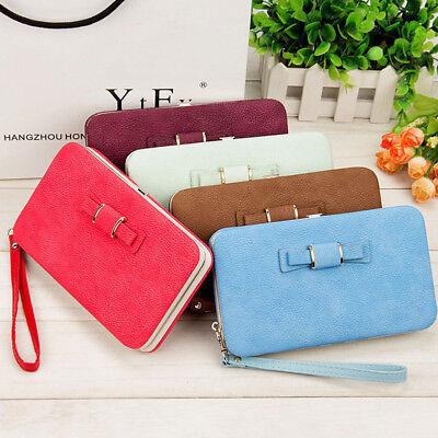 Girl Women Lady PU Leather Clutch Wallet Long Card Holder Purse Box Handbag Bag 3