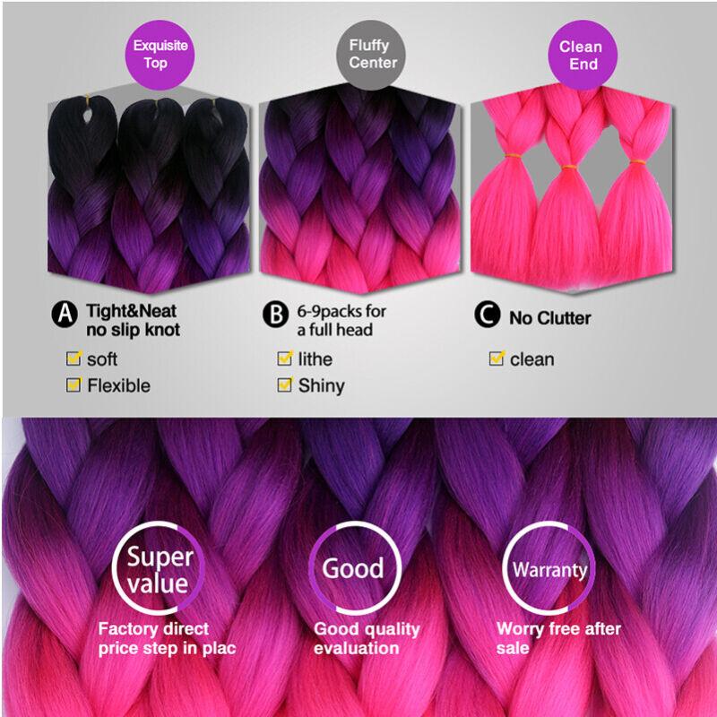 Colored Crochet Hair Extensions Kanekalon Hair Synthetic Braids Jumbo Braiding 9