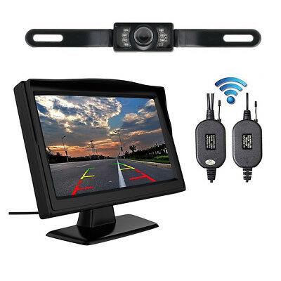 "5"" TFT LCD Car Rear View Backup Monitor+Wireless Parking Night Vision Camera Kit 2"