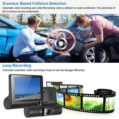 "1080P 4""Car DVR Dual Lens Dash Cam Front and G-sensor Rear Video Recorder Camera 8"