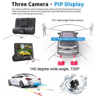 "1080P 4""Car DVR Dual Lens Dash Cam Front and G-sensor Rear Video Recorder Camera 6"