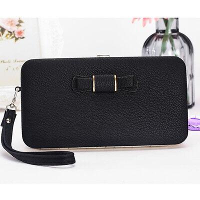 Girl Women Lady PU Leather Clutch Wallet Long Card Holder Purse Box Handbag Bag 6