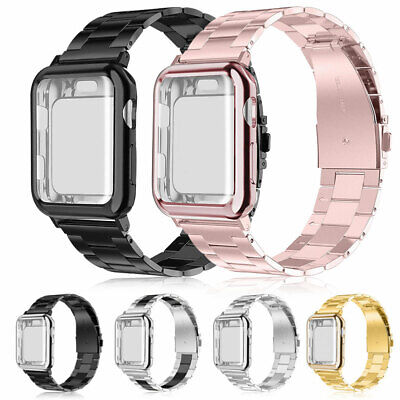 Stainless Steel Band Strap + Case Cover For Apple Watch Series 4 3 2 40mm 44mm 2