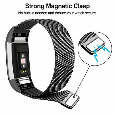 For Fitbit Charge 2 Band  Stainless Steel Metal Milanese  Loop Wristband strap 6