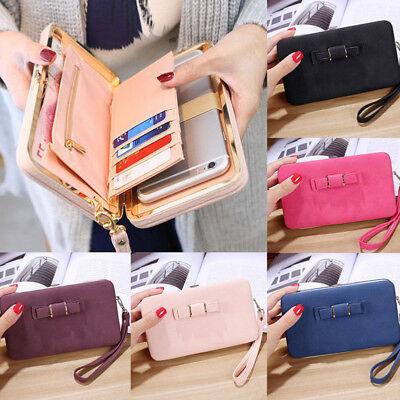 Girl Women Lady PU Leather Clutch Wallet Long Card Holder Purse Box Handbag Bag 4