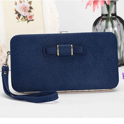 Girl Women Lady PU Leather Clutch Wallet Long Card Holder Purse Box Handbag Bag 5