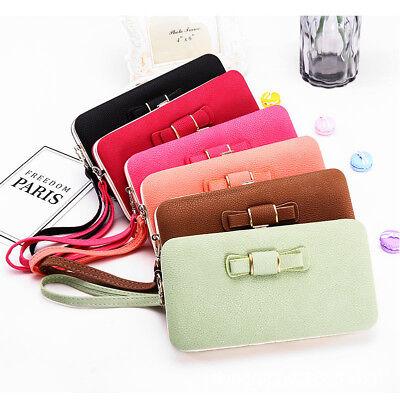 Girl Women Lady PU Leather Clutch Wallet Long Card Holder Purse Box Handbag Bag 2