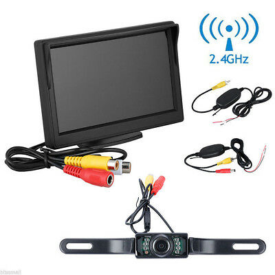 "5"" TFT LCD Car Rear View Backup Monitor+Wireless Parking Night Vision Camera Kit 4"