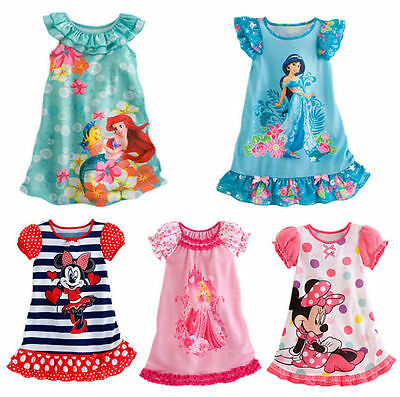 Kids Girls Princess Cartoon Nightie Nightdress Pyjama Sleepwear Nightwear Summer 2