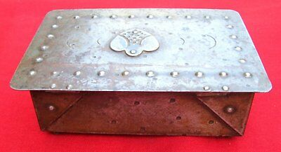 Antique Signed Scarce Small Hand Wrought Iron Box  By Goberg ~ Circa 1915 5