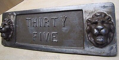 Old Double Lions Head Architectural Building Number 'Thirty Five' Marker Sign 9