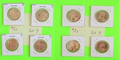 #2s 2018 PD  Pos A&B 4 Coins $1 Native American- Mint Bags 9
