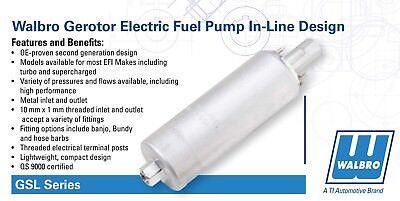 NEW GENUINE GSL392 Walbro 255LPH Inline High Pressure Fuel Pump w/ Install  Kit