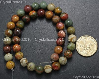 "Natural Picasso Jasper Gemstone Round Loose Beads 4mm 6mm 8mm 10mm 12mm 14mm 16"" 6"